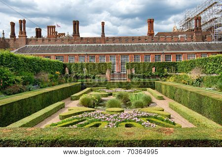 Sunken Garden at Hampton Court Palace near London, UK poster