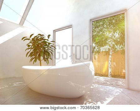 Modern bathroom interior with a white freestanding central oval bathtubwith glass windows and skylights with a view of green trees
