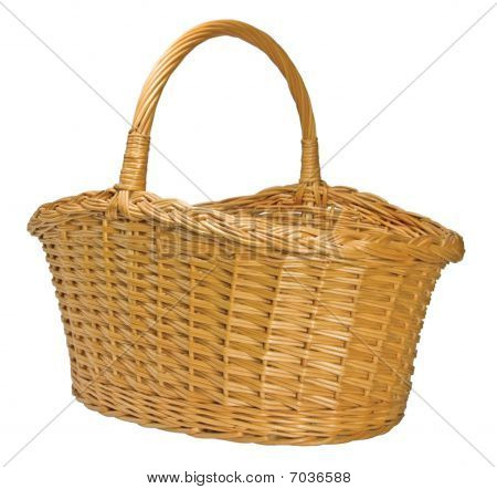 Half-Split Splint Willow Wicker Basket Isolated on white poster