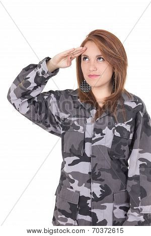 Pretty young girl in military uniform saluting isolated on white poster