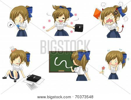 Cute Thai Schoolgirl Student In Various Activities And Emotion Icon Set 2 (vector)