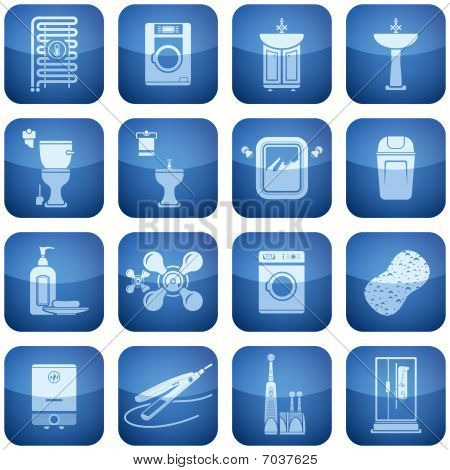 Cobalt Square 2D Icons Set: Bathroom