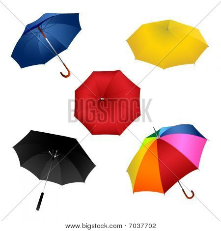 Colourful umbrellas, on white background, vector illustration. poster