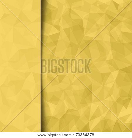 Print template. Abstract yellow vector mosaic pattern and sidebar. Vector illustration