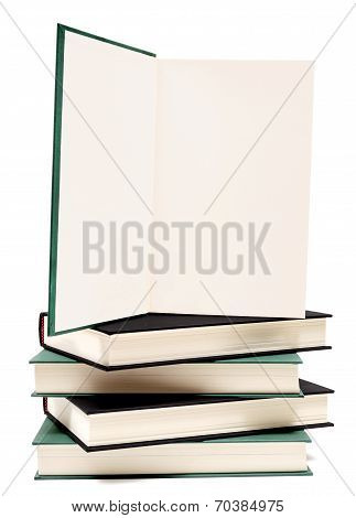 Book Opened On Stack Of Books