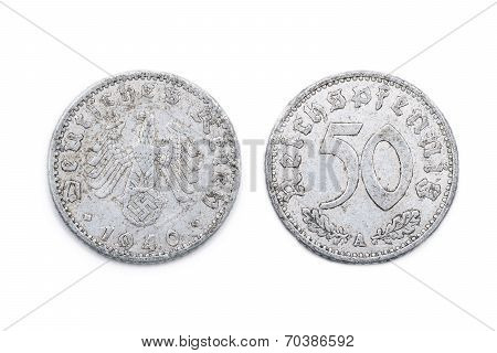 Fifty Pfennig from Wartime Germany - 1940