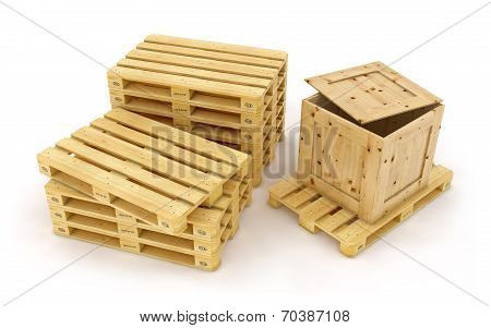 Wooden pallet. 3d rendered illustration. Isolated on white