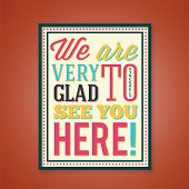 Glad to See You Abstract Retro Poster With Color Typography poster