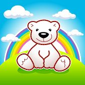 Toy bear sitting on meadow under rainbow and clouds vector logo. Animated bear. Ad or illustration for toys shop or book of tales. Greeting card for Teddy holidays design concept. poster
