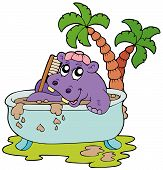 Hippo taking mud bath on white background - vector illustration. poster