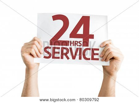 24 Hrs Service card isolated on white background