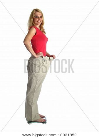 Girl In Big Pants On Scales