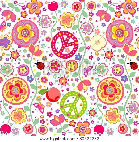 Childish hippie wallpaper