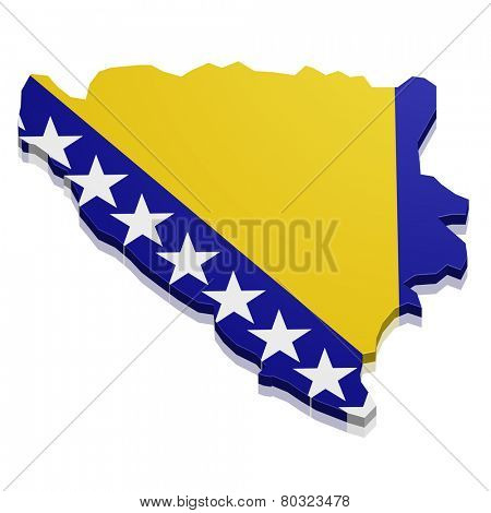 detailed illustration of a map of Bosnia Herzegowina with flag, eps10 vector