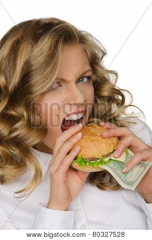 Hungry Young Woman With Burger Of Dollars
