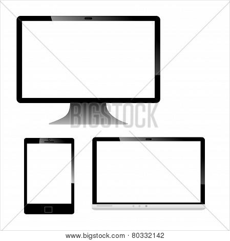 Realistic Computer Mobile Devices with Laptop Tablet and Smartphone - Illustration