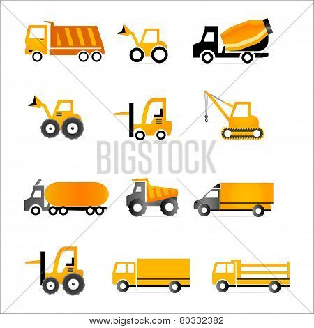 Set of truck orange icons - Illustration