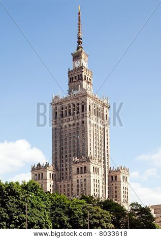 The Palace of Culture and Science in Warsaw Poland was donated by Stalin in 1955 poster