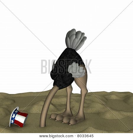 poster of Political Ostrich with it's head in the sand. White background.