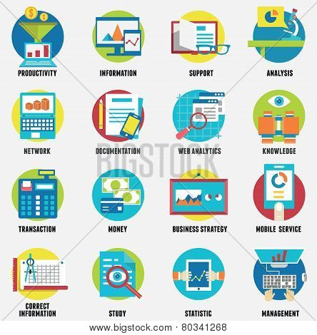 Web analytics information development website statistic and business flat icons - vector icons poster