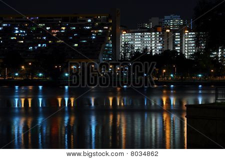 city scape lights on the pier