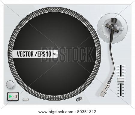 Vector illustration of modern white turntable
