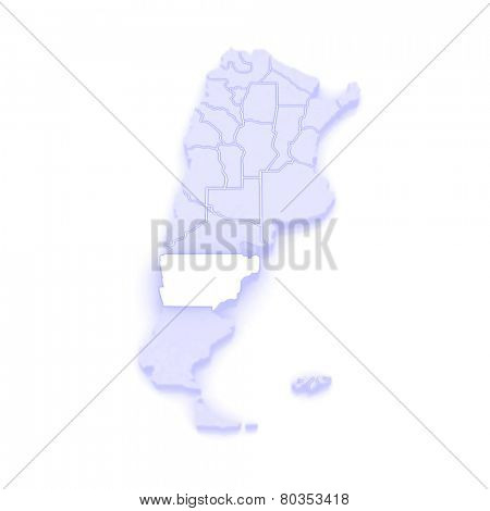 Map of Chubut. Argentina. 3d