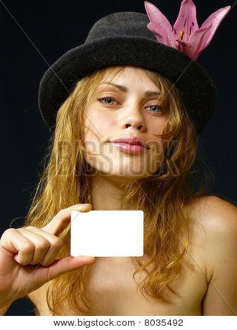 Girl With A Business Card In A Hand