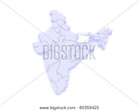 Map of Bihar. India. 3d