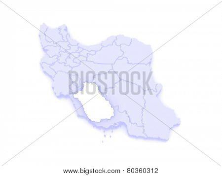 Map of Farce. Iran. 3d