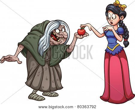 Princess with skin as white as snow getting an apple from an old witch. Vector clip art illustration with simple gradients. Each on a separate layer.