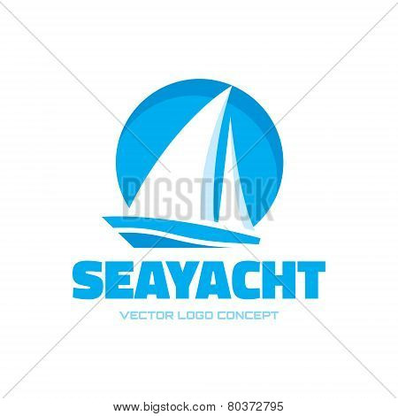 Sailboat - vector logo concept illustration. Ship sign. Design element.