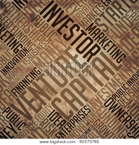Venture Capital - Grunge Printed Word Collage in Brown Colors on Old Fulvous Paper. poster