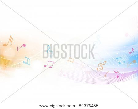Colorful musical waves with musical notes over beige color background.