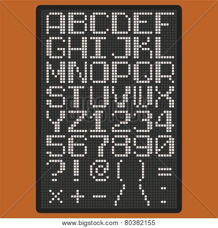 Vector Pixel Font With Uppercase Letters Of Latin Charset Pun?tuation Marks And Numbers