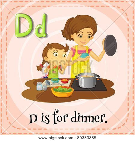Illustration of an alphabet D is for dinner poster
