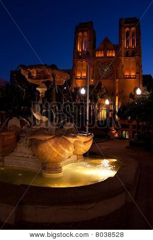 Grace Cathedral Fountain Dusk