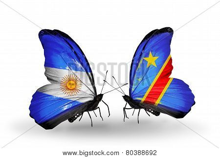 Two Butterflies With Flags On Wings As Symbol Of Relations Argentina And Kongo