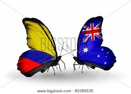 Two Butterflies With Flags On Wings As Symbol Of Relations Columbia And Australia