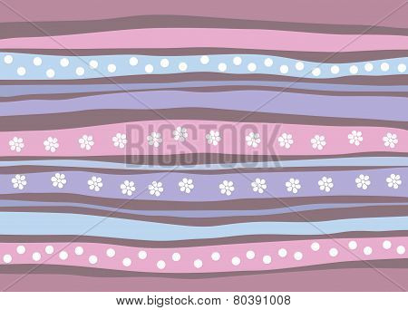 Patterned stripey background with abstract flowers and dots