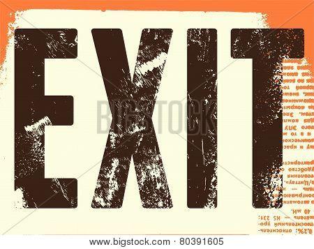 Retro Exit Sign. Vector poster