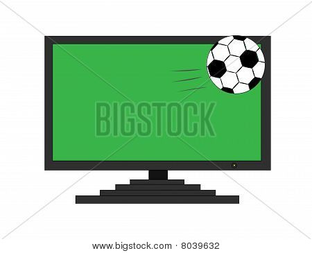 Soccer ball get out of TV screen