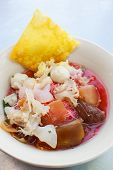seafood yong tau foo (rice noodles with fishball) thai style. poster