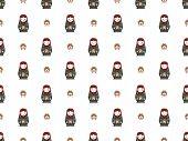 russian doll matreshka seamless pattern vector background poster