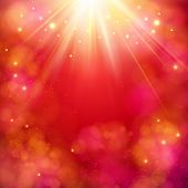 Dynamic red abstract background with a bright star burst or sunburst with rays of light and copyspace, square format vector illustration poster