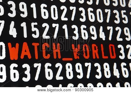 Computer Screen With Watch World Text On Black Background