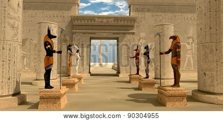 Statues In Pharaoh's Temple