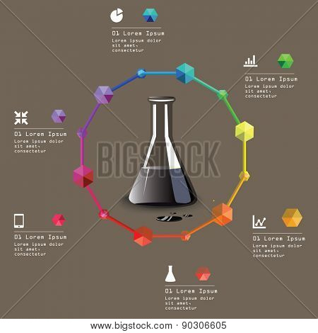 Test tube with oil. Oil and gas industry infographic