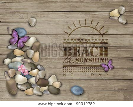Summer background with pebbles on a wooden texture.  Pebble stones.