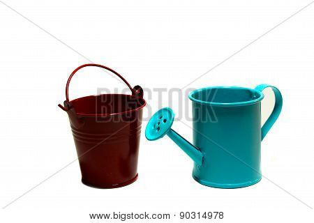 Handshower And Garden Bucket On A White Background